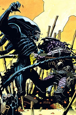 Mike Mignola's cover to Aliens vs. Predator #0